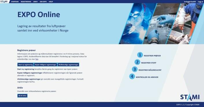 Startsiden til EXPO Online. (Skjermdump: STAMI)