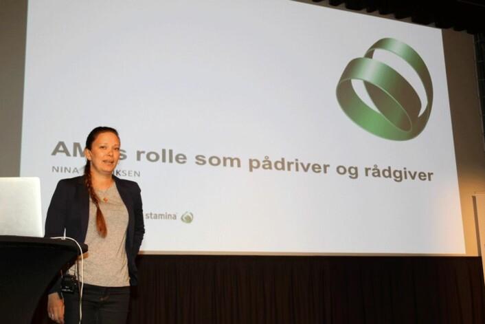 Nina Henriksen fra Stamina snakket om AMU som pådriver og rådgiver på AMU-dagen 8. mai. (Foto: Jan Tveita)