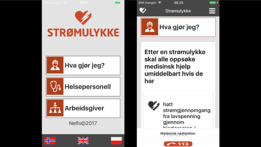 App for strømulykker. (Skjermbilder)