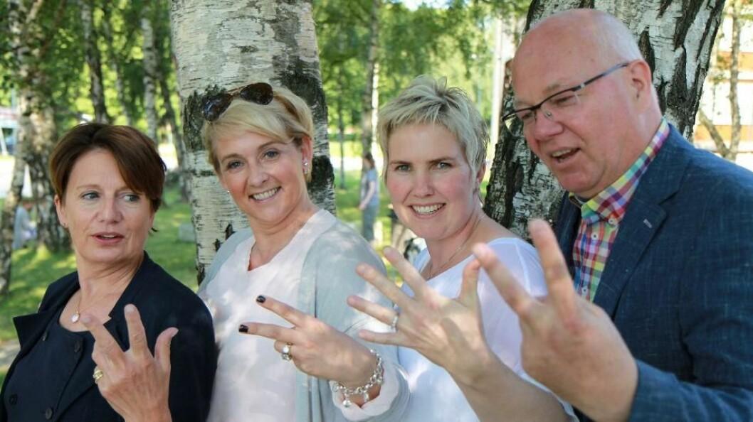 Sunne henders prosjektgruppe har bestått av Kirsti Stockland (NHO SH), Trude Hov Sørensen (Raise Gruppen), Marianne Knapstad (BB Service-Systemer) og Tore Herseth Barlo (NHO SH). (Foto: Baard Fiksdal)