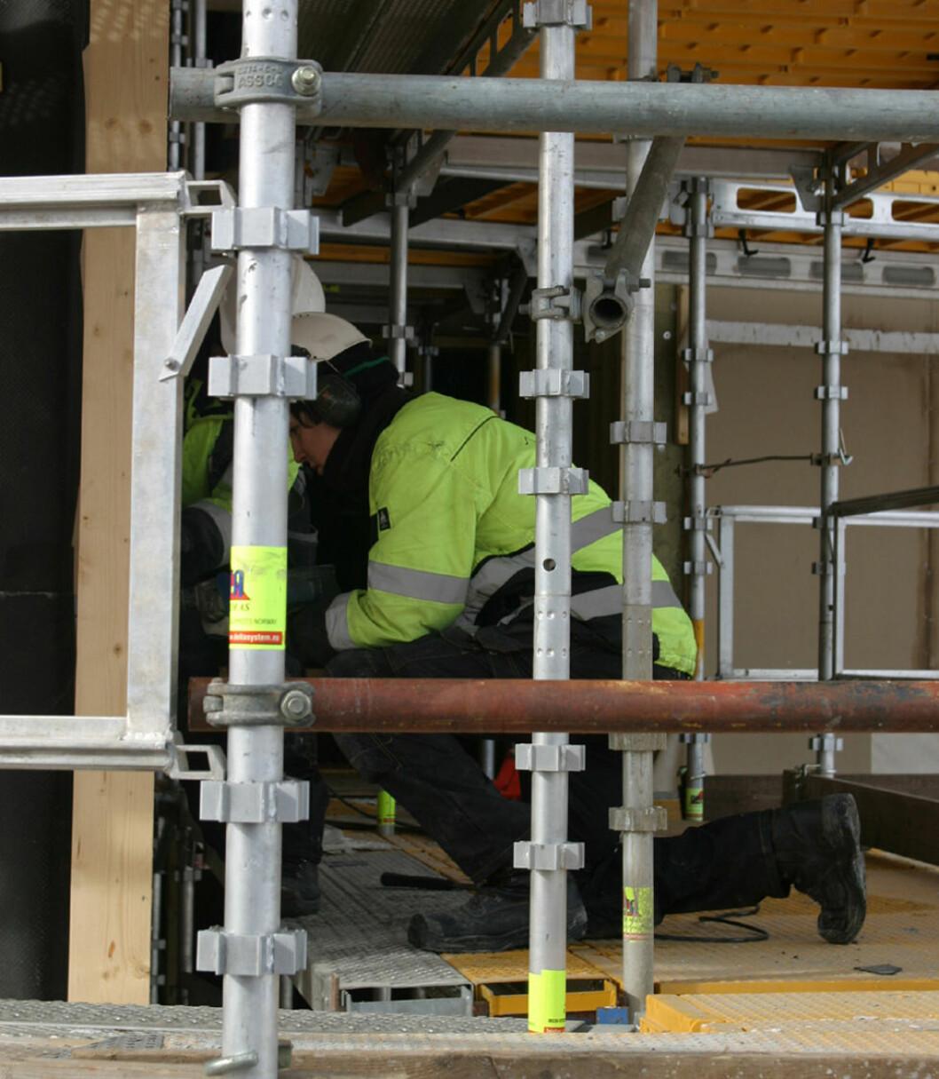 Feil og mangler på stillas er en gjenganger i byggebransjen. (Foto: Jan Tveita)