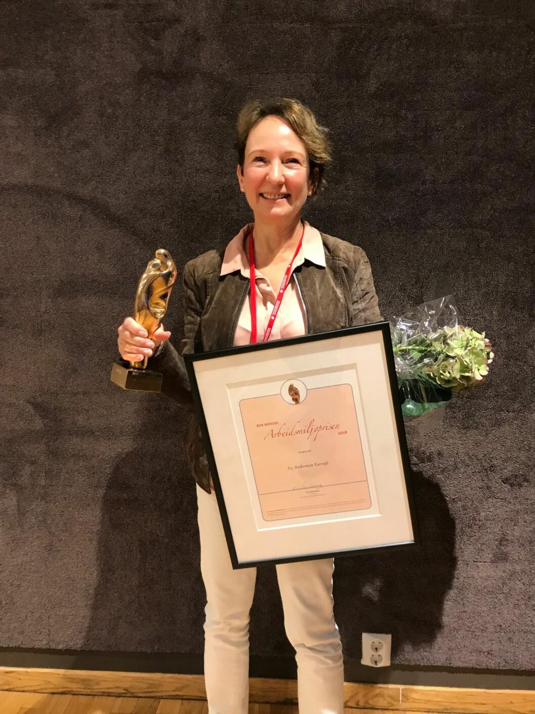 Joy Buikeman Fjærtoft er vinner av Arbeidsmiljøprisen 2018. (Foto: Arbeidsmiljøsenteret)