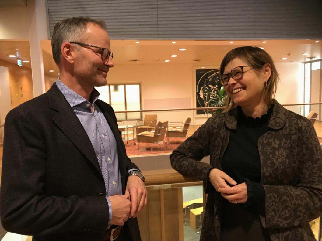 Espen Uvholt, leder for HR Competence Center Norway i Norsk Hydro og direktør i Akan kompetansesenter, Elisabeth Ege. (Foto: Signy Svendsen)