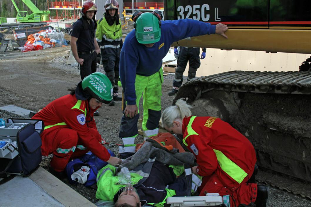 29 personer omkom i arbeidsulykker i Norge i 2018. Bildet er fra en øvelse i entreprenørselskapet NCC. (Illustrasjonsfoto: Jan Tveita)