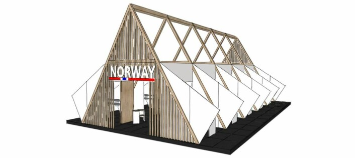 Slik kan en norsk fellespaviljong se ut på A+A 2019. (Illustrasjon: Norsk-Tysk Handelskammer)