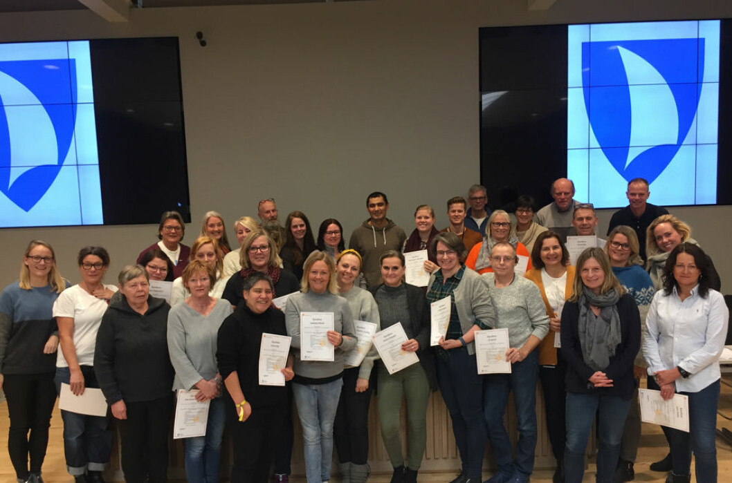 Deltakerne på arbeidsmiljøkurset i Færder fotografert siste kursdag. (Foto: Færder kommune)
