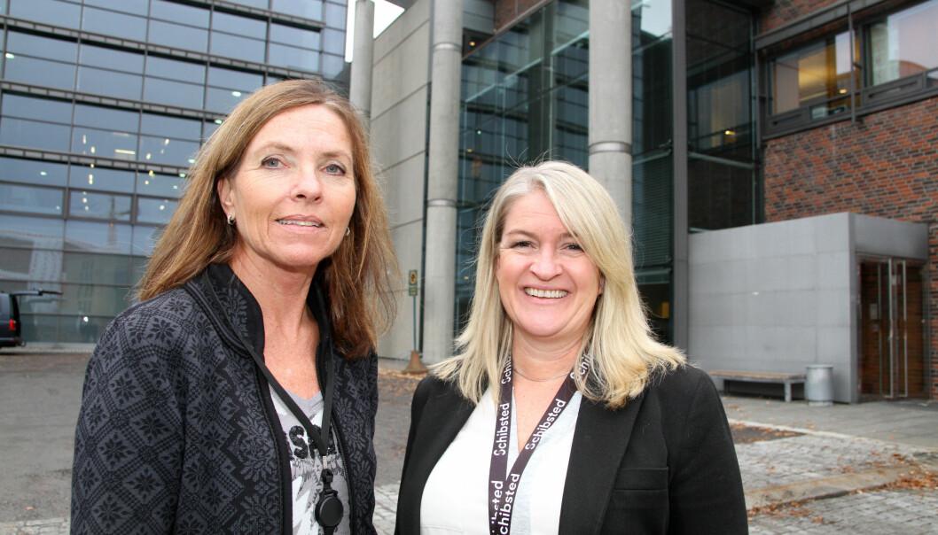 F. v: produksjonssjef Anette Birkelund og HR-leder Charlotte Hellgren i Schibsted Trykk gjør ledere av bedriftens ansatte.