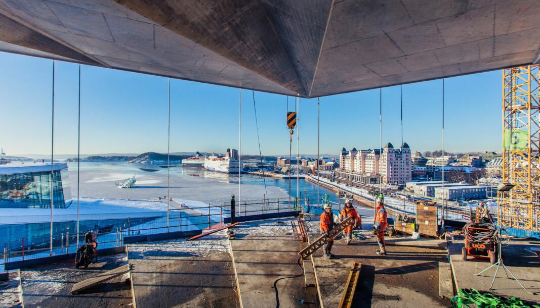Fra byggingen av nye Deichmanske Bibliotek i Bjørvika, Oslo. Nå ønsker Skanska å minimere avfallsmengden fra byggeplass.