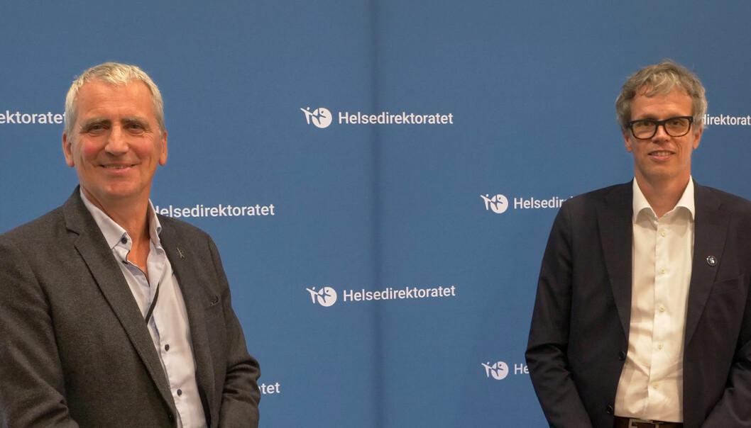 SAMARBEIDER: Assisterende helsedirektør Olav Slåttebrekk og administrerende direktør Jacob Mehus, Standard Norge.