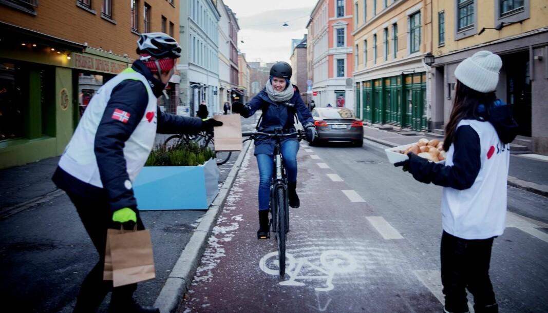 Vintersykling i Oslo.