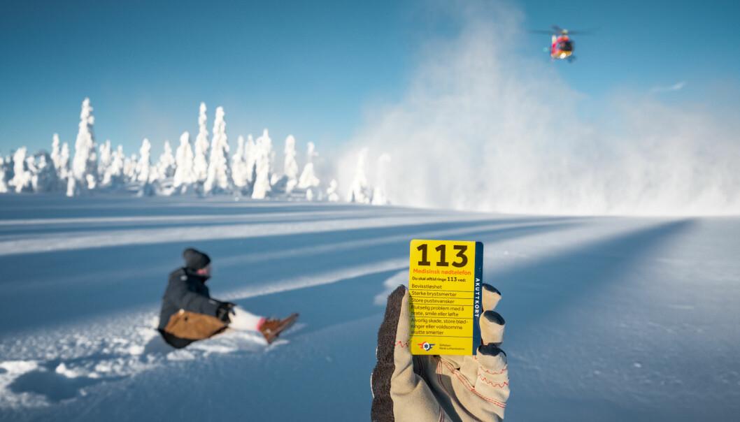 Akuttkortet til Stiftelsen Norsk Luftambulanse viser hvilke fem tilfeller der man alltid skal ringe 113.