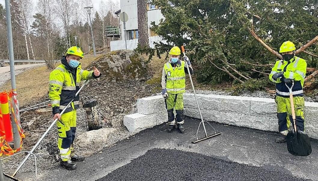 NCC Industry asfalt bruker munnbind der to-meteren ikke kan overholdes.